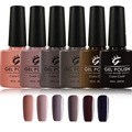 Newest Grey Gray Coffee Color Gel Nail Polish  Chocolate Color LED UV Nail Gel Lacquer, Easy to Be Cured by LED UV Nail Lamp