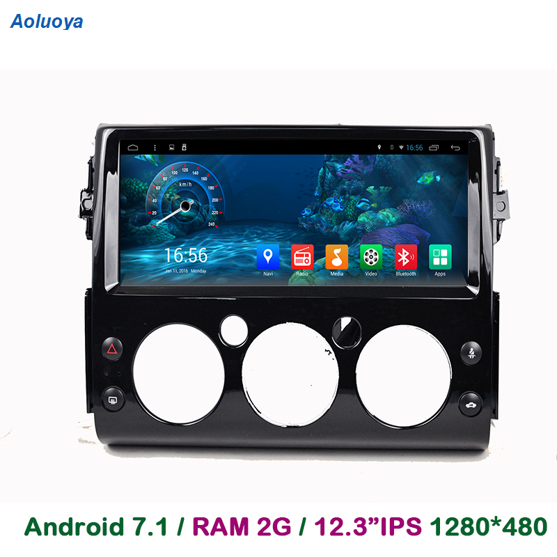 Aoluoya 12,3 IPS 2 GB RAM Android 7,1 reproductor de DVD del coche para Toyota FJ Cruiser 2007, 2008, 2009, 2010 2011-2016 de Radio navegación GPS BT