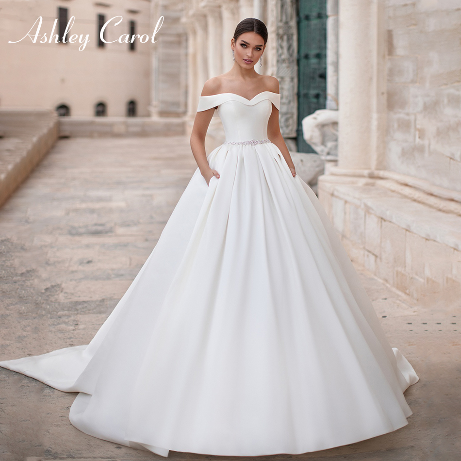 Ashley Carol Sexy Sweetheart Soft Satin Wedding Dress 2019 Cap Sleeve Lace Up French Bride Dress Simple Princess Wedding Gowns