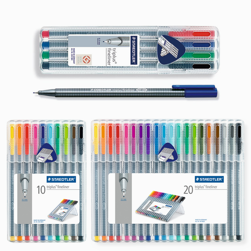 Staedtler 334 SB Triplus Fineliner Fiber pen Color Pen Gel Pen 0.3mm 4/10/20 Colors Set Stationery School & Office Supplies