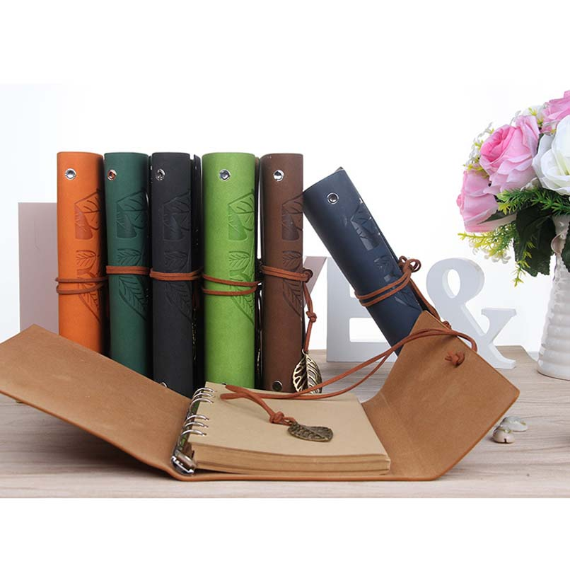 Hot <font><b>Notebook</b></font> <font><b>A5</b></font> A6 A7 Office Stationery School Supplies <font><b>Travel</b></font> Diary Creative Leather Cover Ring Binder Kraft Paper Notepad image
