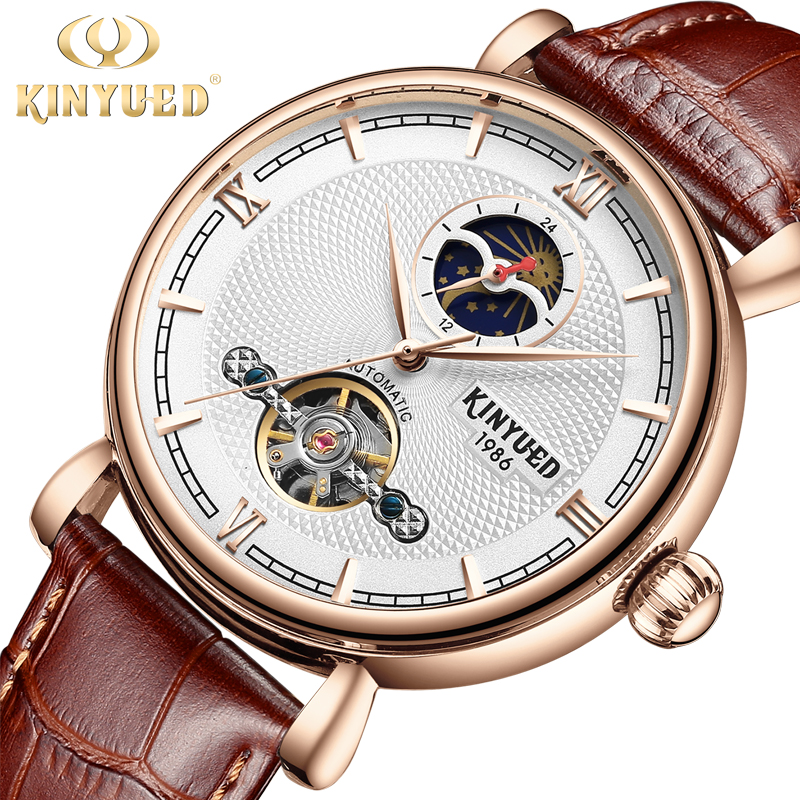 цена KINYUED Luxury Brand Tourbillon Skeleton Watch Men Automatic Moon Phase Self-Wind Mens Mechanical Watches Casual horloges mannen онлайн в 2017 году