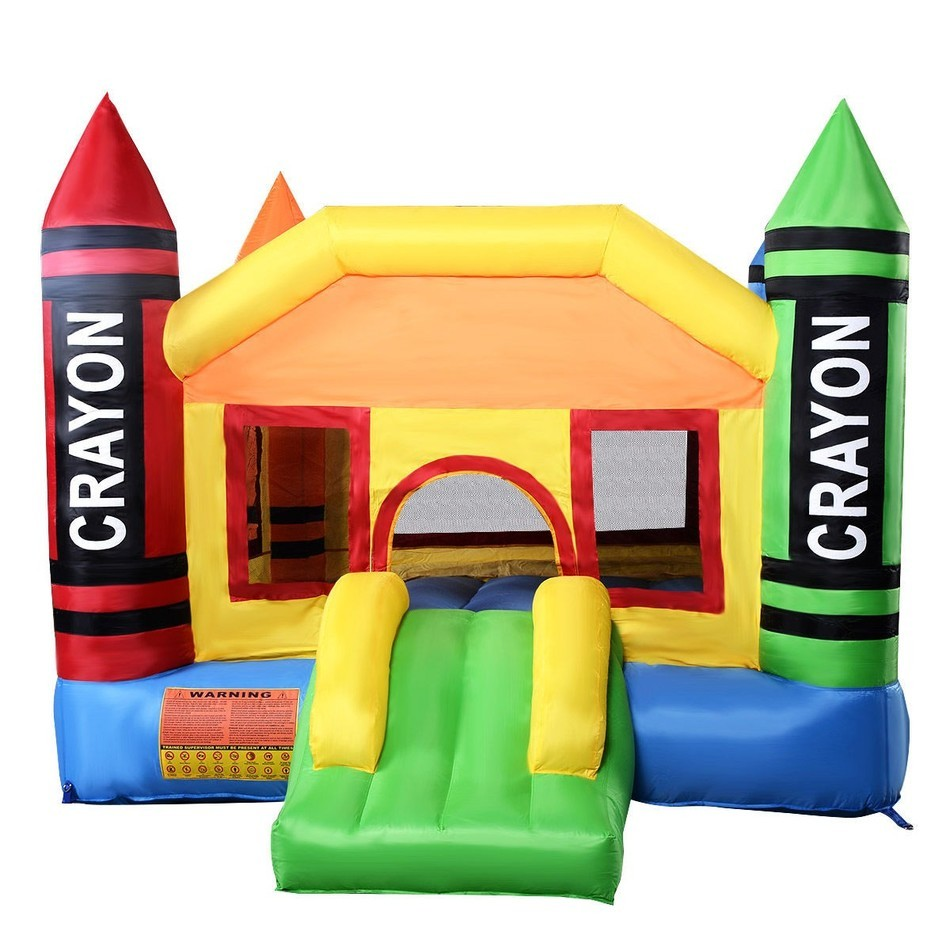 Deliver From USA New Inflatable Crayon Bounce House Castle Jumper Moonwalk Bouncer Without Blower 420D Oxford outdoor commercial bounce house inflatable bouncy castle combo slide jump moonwalk inflatable castle for rental
