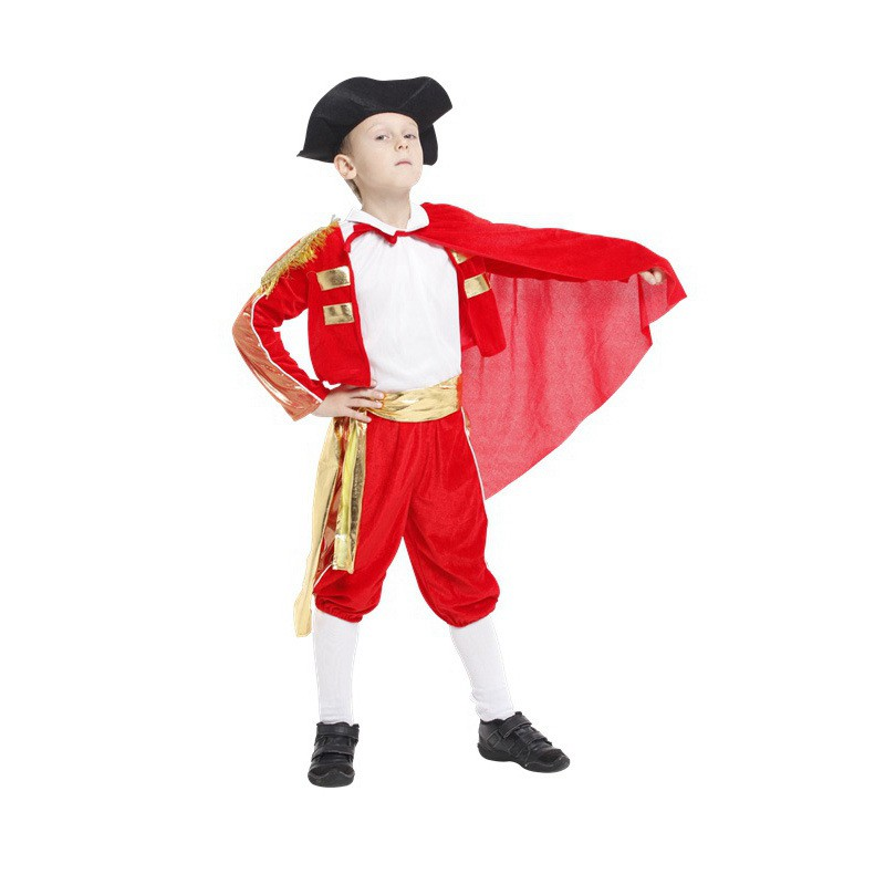 New Handsome soldier Childrens Halloween Cosplay Costumes Boys red Spanish Matador Costumes kids Festival Performance clothes