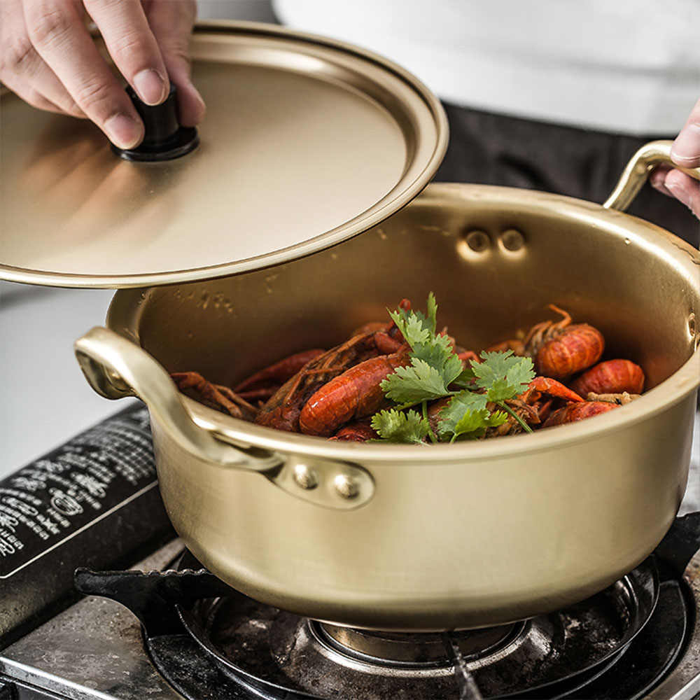 Wielofunkcyjny makaron garnek koreański styl aluminium ryżu zupy garnek złota garnek do gotowania z uchwyt kuchnia trwałe naczynia do gotowania 1.5L/2L