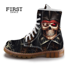 Фотография FIRST DANCE Street Fashion Mid-Calf Boots Men Dr Martins Black Skull Shoes Cotton Winter Mens Warm Cuctom Prtined Casual Boots