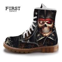 FIRST DANCE Street Fashion Mid Calf Boots Men Dr Martins Black Skull Shoes Cotton Spring Mens
