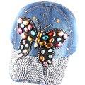 Alta calidad completa de colores cristal mariposa grande gorra de béisbol de mezclilla Bling Rhinestone hip hop sombrero del Snapback ajustable para mujeres