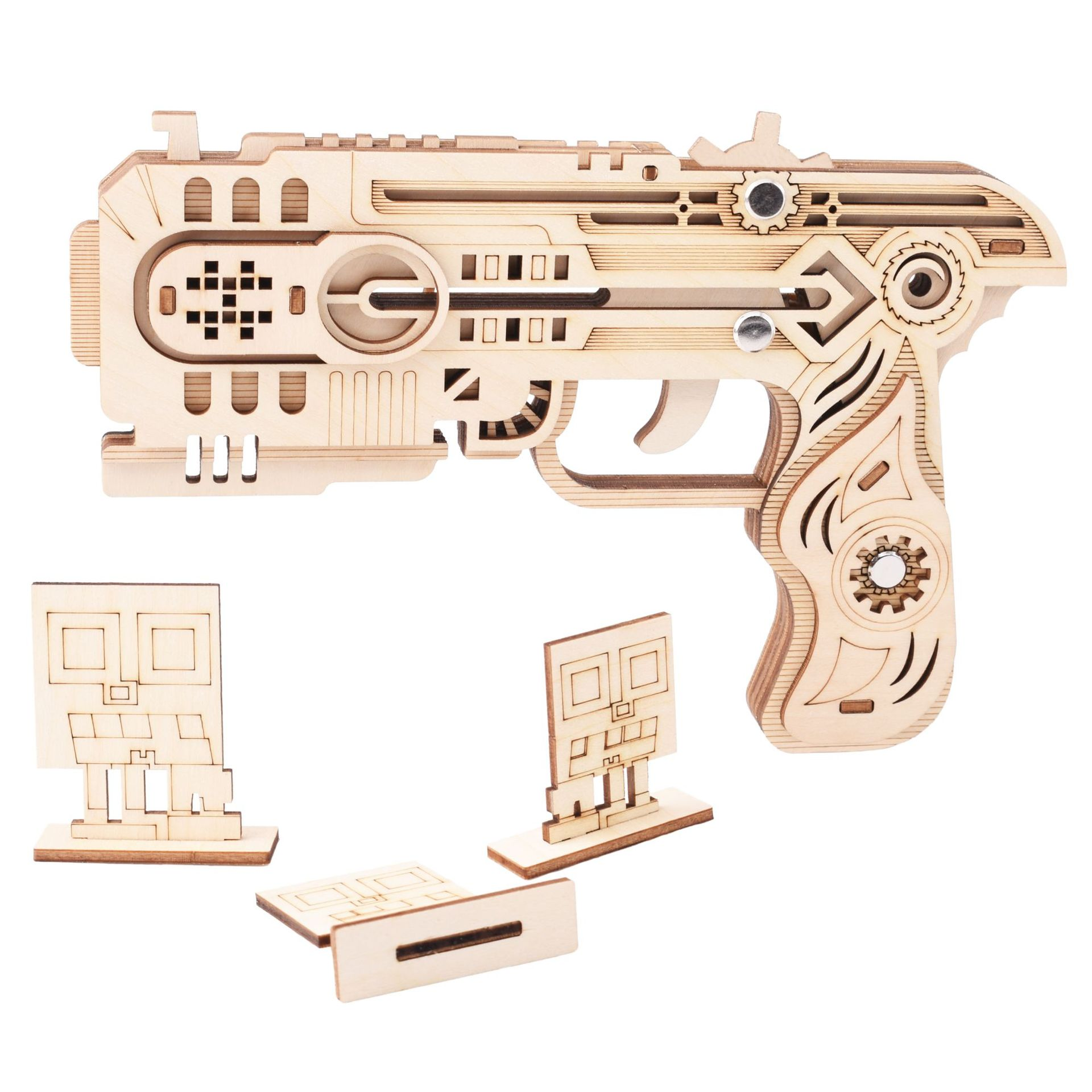Image 5 - Laser Cutting DIY 3D Wooden Puzzle Woodcraft Assembly Kit Hunting wolf Eagle Train Dragon Rubber Band Gun For Christmas GiftPuzzles   -