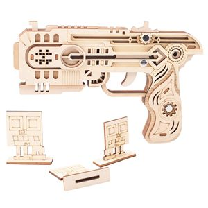 Image 5 - Laser Cutting DIY 3D Wooden Puzzle Woodcraft Assembly Kit Hunting wolf Eagle Train Dragon Rubber Band Gun For Christmas Gift