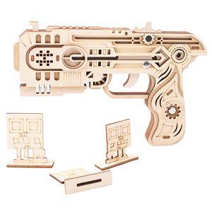 Image 5 - Pistolet à ruban en caoutchouc, découpe Laser, Puzzle en bois 3D, Kit dassemblage artisanal en bois, chasse, loup, aigle, Train, Dragon, cadeau de noël