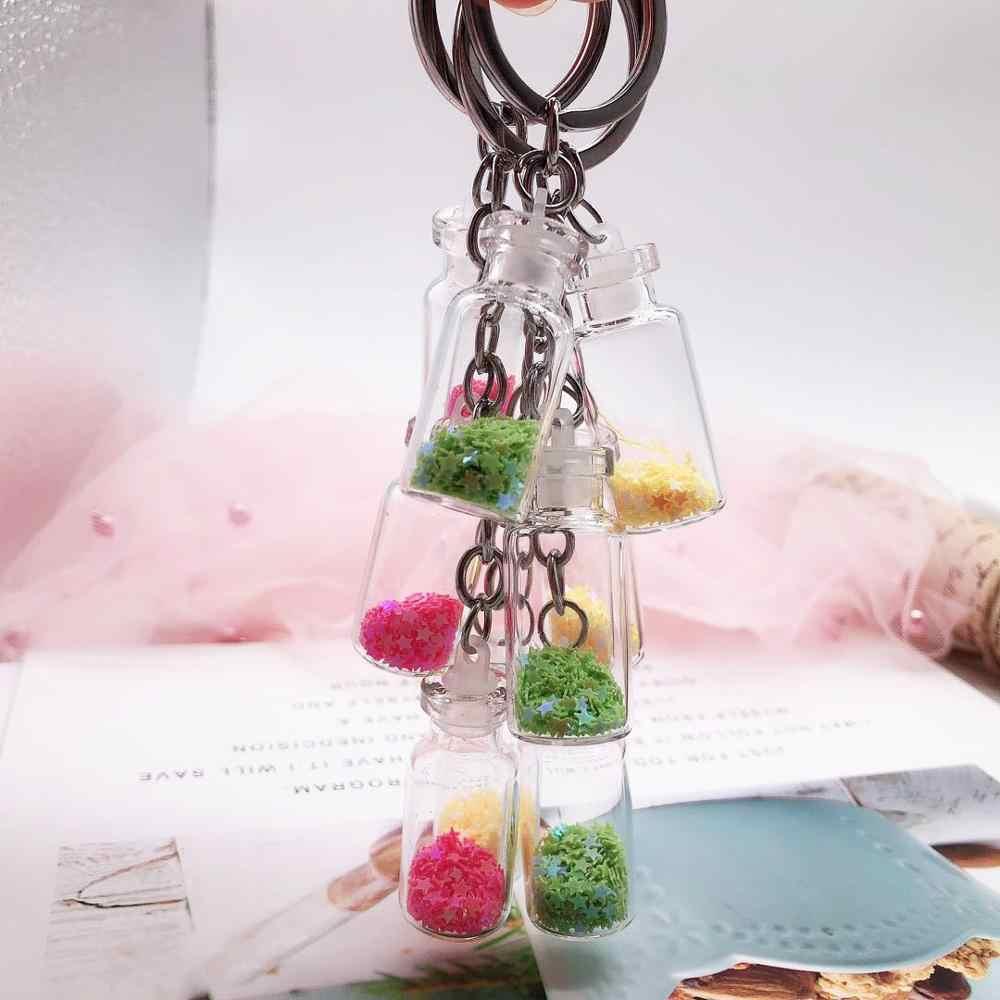 LLavero de botella de deriva de estrella colorizada Popular de 2019, llavero de 3 botellas de vidrio para mujer, amante de los regalos, llavero para bolsos de coche anillo de llave