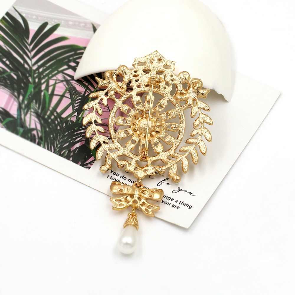 Baiduqiandu tamanho grande prata/ouro cor chapeado cristal claro strass arco gota broche pinos jóias presentes para mulher