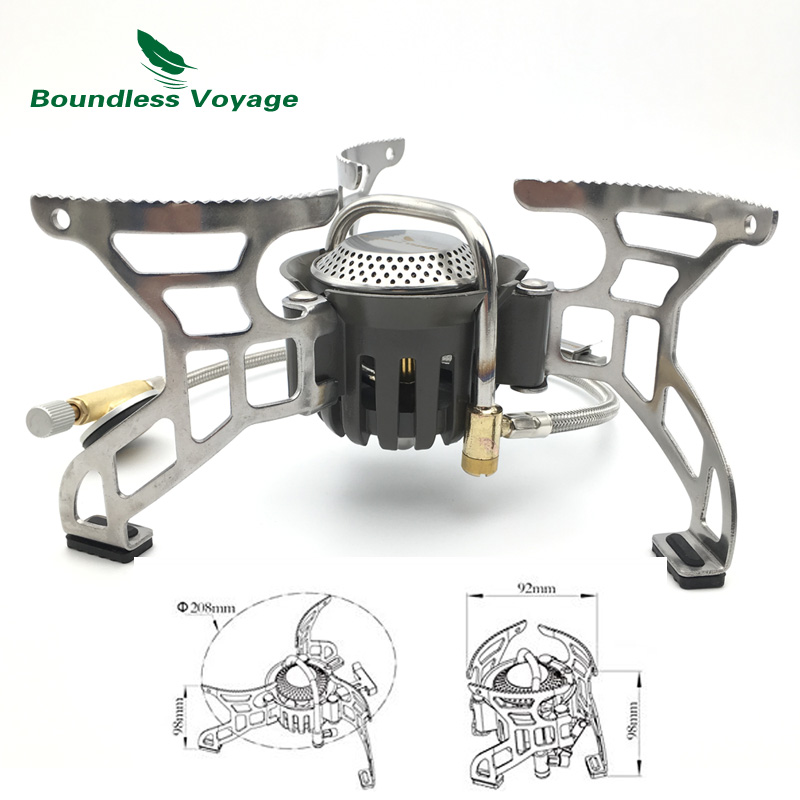ФОТО Boundless Voyage Gas Stove Camping Stove For Outdoor Cooking Portable Lightweight Big Power Aluminum Alloy BV1007