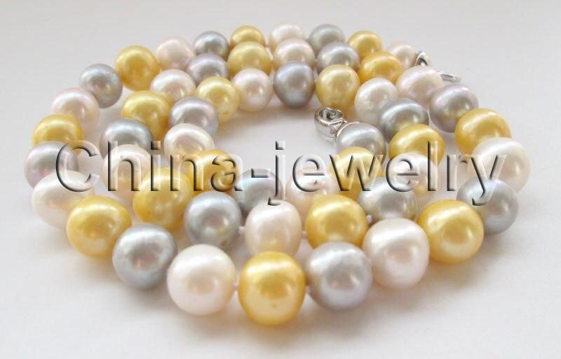 Collier de perles d'eau douce rondes en or blanc gris 10-11mm de P7181-22