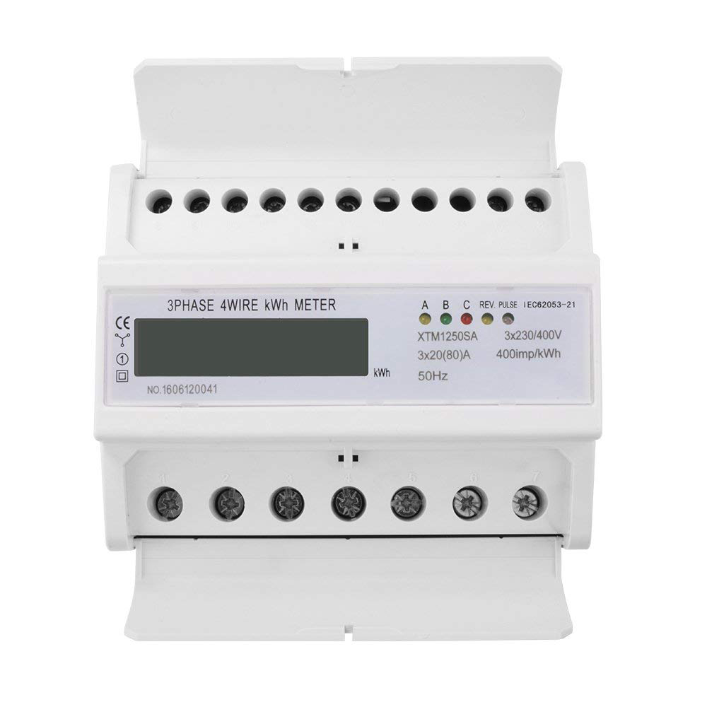 7 digit LCD KWH Energy Meter 3x20 80 A 3x230 400V 50HZ Three Phase Four Wire