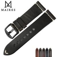 MAIKES 2018 Latest Designs 22mm 24mm Black Genuine Leather Watch Band Bracelets Vintage White Arrow Wrist