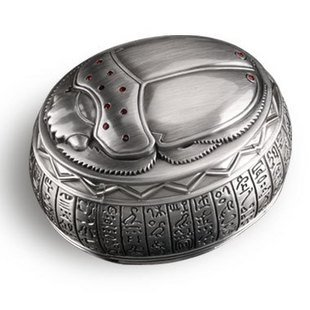 OGRM Metal Crafts Egyptian Scarab Beetle Metal Jewelry Box Treasure Gift Box Vintage Home Decor