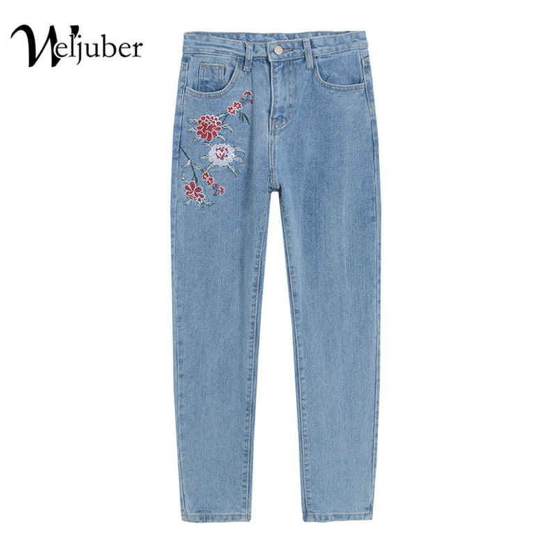 2017 Weljuber Women Jeans with Embroidery Denim Blue Pencil Pants Women Zipper Sexy Jeggings High Elastic Wash Mid Waist  Loose 2017 leijijeans jeans women mid elastic dark blue plus size jeans with embroidery pants full length loose style straight fat mm