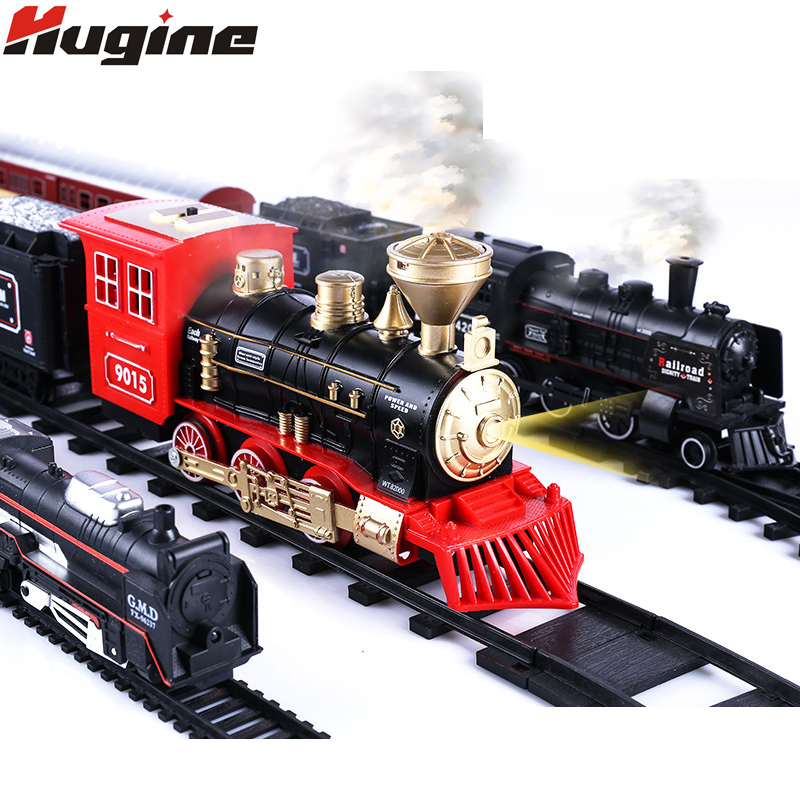 Classical Track Train Retro Steam Train Electric New Brand Simulation With Light Big Collection Toy Children Christmas Gifts