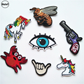 1 PCS Snake Unicorn parches Embroidered Iron on Patches for Clothing DIY Eye Stripes Clothes Toy gun Stickers Custom Badges @P