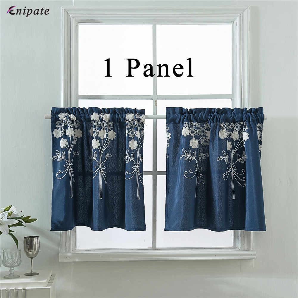 Enipate 1 Panel Nordic Pastoral Style Short Curtains Embroidered Floral Kitchen Curtains Living Room Bedroom Door Window Blinds