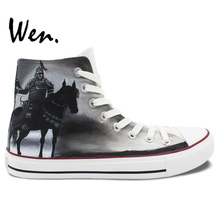 Wen Design Action Film 300 Rise of an Empire High Top Hand Painted Sneakers for Boys Men's Gifts Canvas Skateboarding Shoes