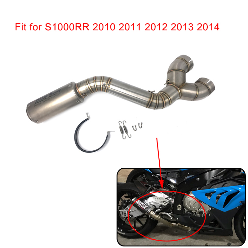 S1000RR 61mm Muffler Exhaust Middle Link Pipe Escape Connection Pipe Slip on For BMW S1000RR 2010