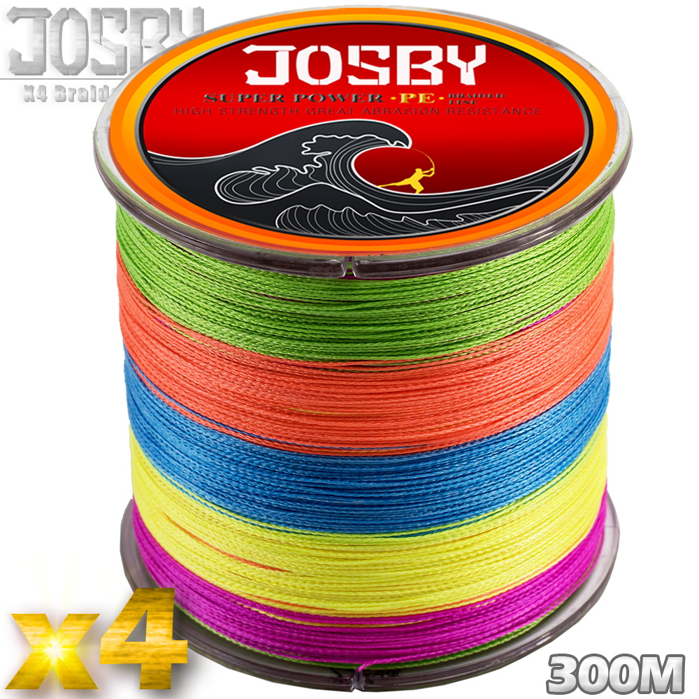 JOSBY 4 Braid Braided Fishing Line 300M Multicolour Super Strong Multifilament Fishing Lines 4 Strand Peach Essays Rope colorful image