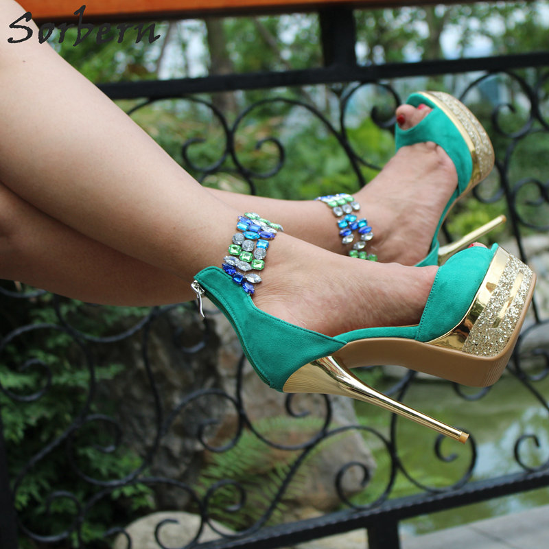 Sexy Green Ankle Strap Rhinestone Sandals Women High Heels Womans Shoes Fashions 2018 Summer Sandals For Women Ladies Shoes green summer womens shoes rhinestone high heels sandals women pumps shoes 2017 fashion suede leather woman ankle strap shoes