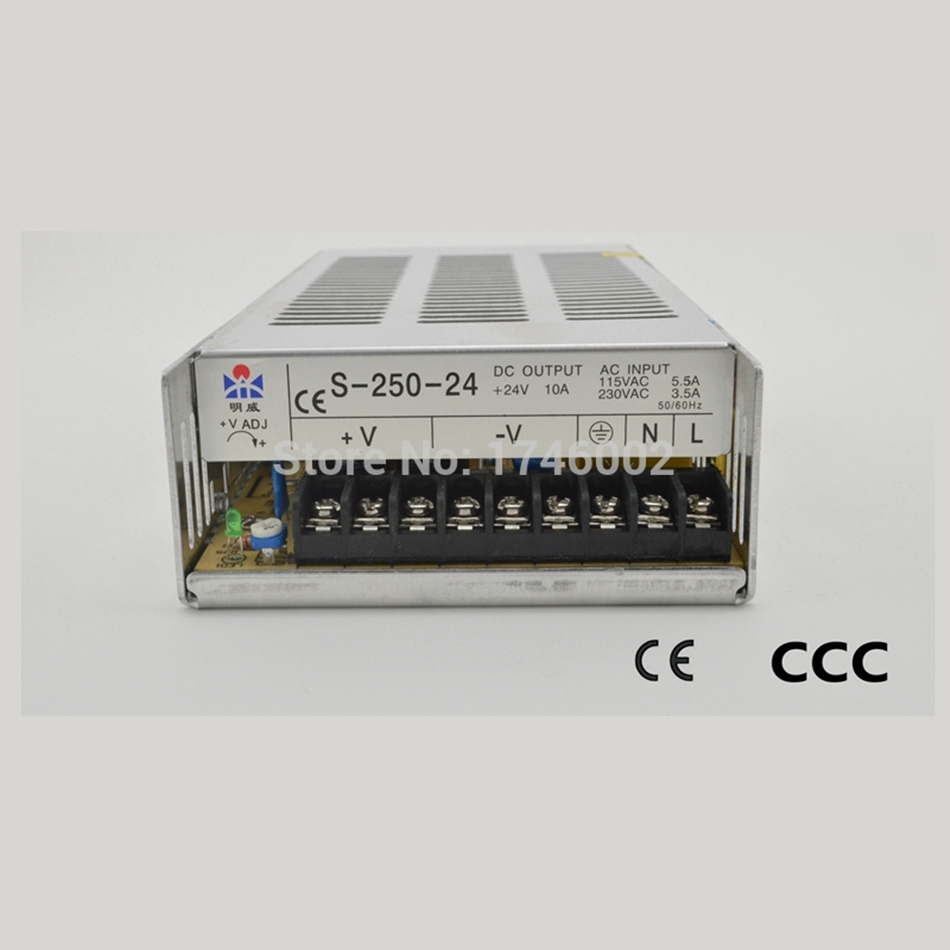 ФОТО ac to dc S-250-24 10A 250W supply, 24V supply, direct sales transformer led driver source switching power supply volt