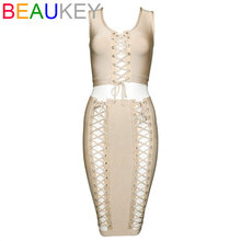 2 Piece Set High Waist New 2017 Sleeveless Knitted Sexy Strap Cross Lacing Women's Bandage dress