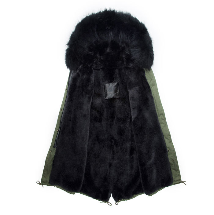 Winter Parka With Raccoon Dog Fur Collar Coat Hooded Male Black Sleeves Leather Jacket