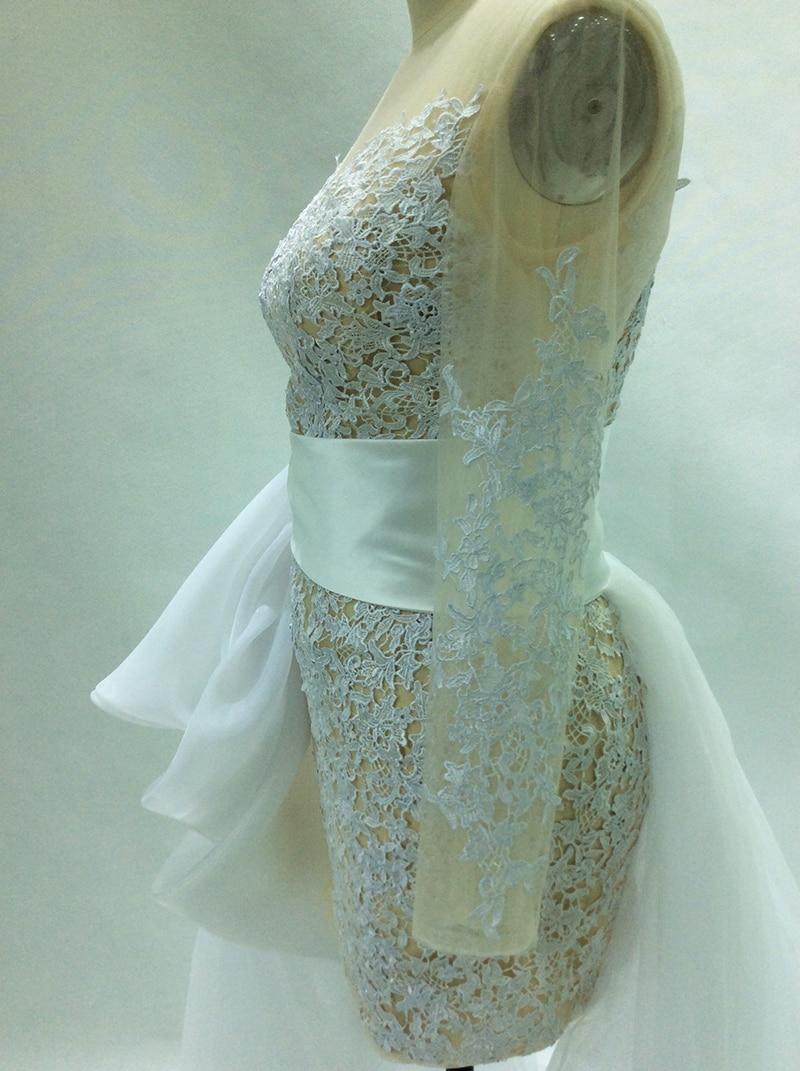New Wedding Dresses Short 2018 Sheath Long Sleeves Detachable Train ...