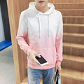2017 Autumn Fashion Brand Clothing Designed Gradual change Colors Pullover Hoodies For Men Casual Big Size Hooded Sweatshirts