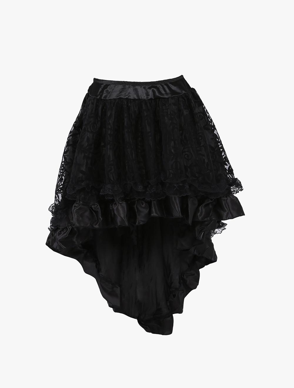 WK19 Lolita Tutu Saia Mini Shapers Skirt Black Lace Up Jupe High Low Skirt Tulle Corset Skirts Plus Size Women Clothing