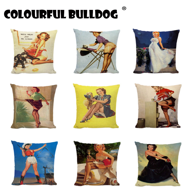 Pinup Girl Charming Woman Cushion Covers Geometry High Heels Pillow Cases Home Decor Sofa Dogs Parrot Gifts Linen Cotton Cojines ...
