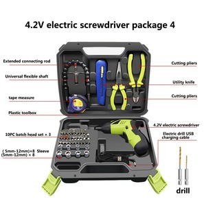 Electric Screwdriver Set USB Charging Electric Drill 45 bits with Scissors Tape Measure Cutting Pliers Utility Knife Universal|Electric Drills| |  -