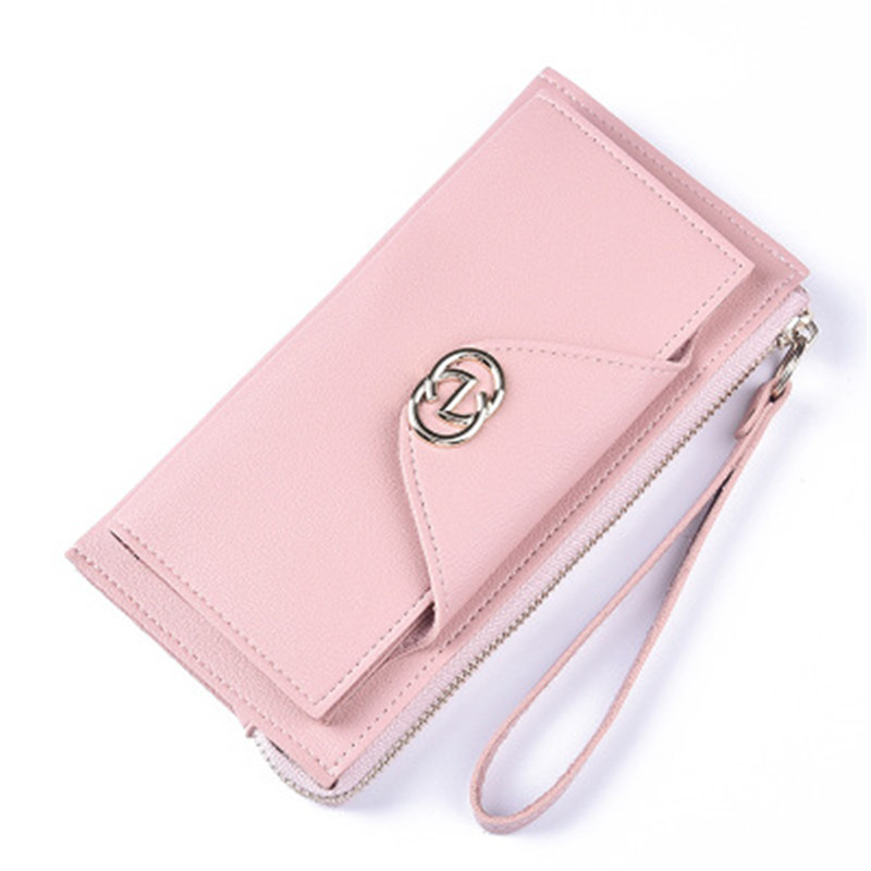 Sweet button handbag large zipper clutch High-quality leather Change bit mobile phone pa ...