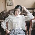 Оригинальный дизайн лето осень свежий мори девушка стиль чистый белый цветочной вышивкой блузки puff рукавом короткие женщин blous HY0052