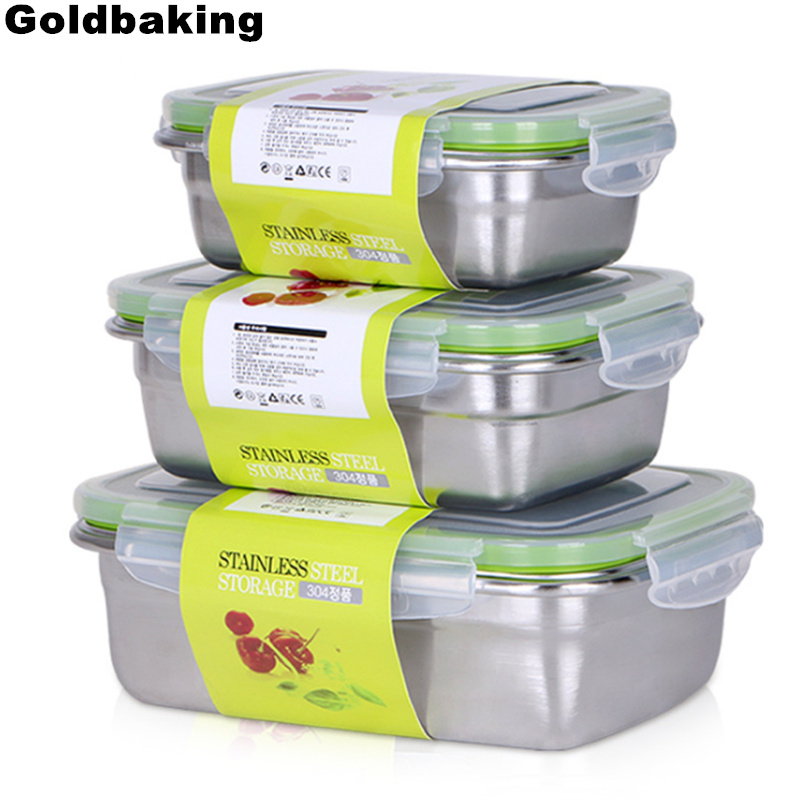 0ef0a090dc88 US $7.59 24% OFF|Goldbaking Stainless Steel Lunch Containers Food  Preservation Leak Proof Food Storage Container Bento Box-in Lunch Boxes  from Home & ...