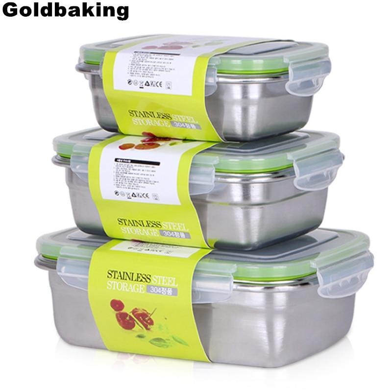 Контейнеры для ланча Goldbaking из нержавеющей стали, герметичный контейнер для хранения продуктов, коробка Bento