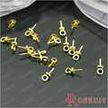 (26888-G)30PCS 6MM Gold Color Brass Pendant Clasps Screw Eye Pin Bail For Charms Top Drilled Jewelry Findings Accessories