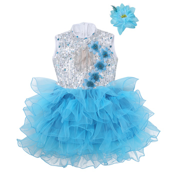 Kids Teens Sequins Rhinestone Flower Dance Tutu Dress Set Children Girls Modern Ballroom Stage Ballet Jazz Dance Costume