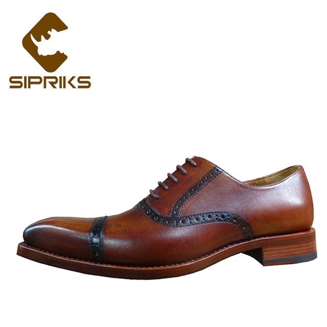 a0329fef41dec Sipriks Genuine Leather Dress Oxfords Shoes Italian Custom Goodyear Welt Shoes  Vintage Cap-Toe Oxfords Quarter Brogue Punched