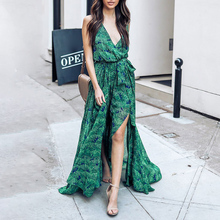 2019 Women Summer Boho Long Dress Sexy Green Print Split V Neck Tunic Lace Up Plus Size Ladies Sundress Casual Maxi Beach Dress