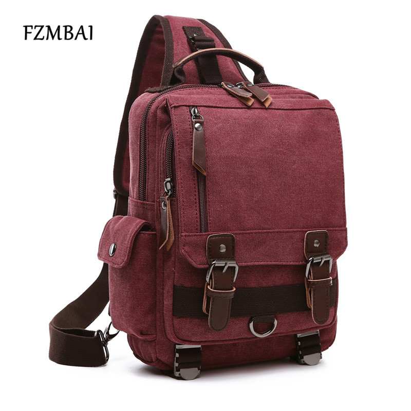 FZMBAI Canvas Shoulder Sling Bag Large Capacity Handbag Crossbody Bags for Men Women Retro Leather Military Messenger Chest Bag unisex retro new 2015 canvas leather women messenger bags men crossbody bag shoulder bag duffel bags weekend free shipping