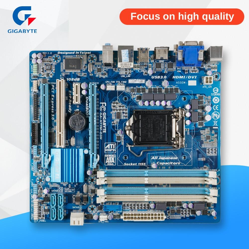 Gigabyte GA-H77M-D3H Original Used Desktop Motherboard H77M-D3H H77 LGA 1155 i3 i5 i7 DDR3 32G SATA3 Micro-ATX msi h77ma g43 original used desktop motherboard h77 socket lga 1155 i3 i5 i7 ddr3 32g sata3 micro atx