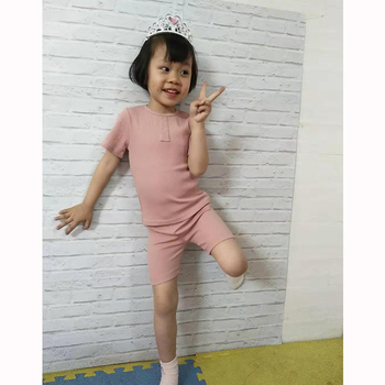 Kids Baby Girl Boys Clothes Children Sets Soft Hot Sale Summer Cloth Ribbed Short Sleeve Fitted Pink New Arrival High Quality