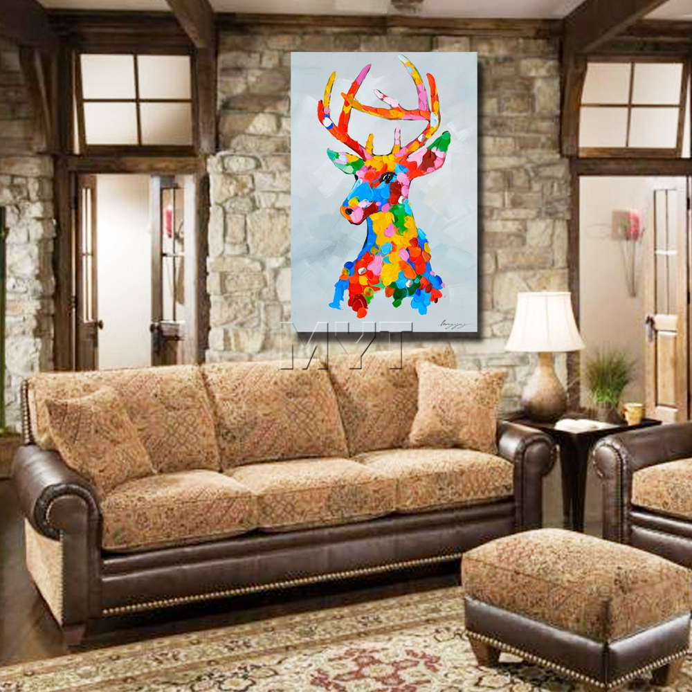Cartoon deer picture abstract animal oil painting knife wholesale ...
